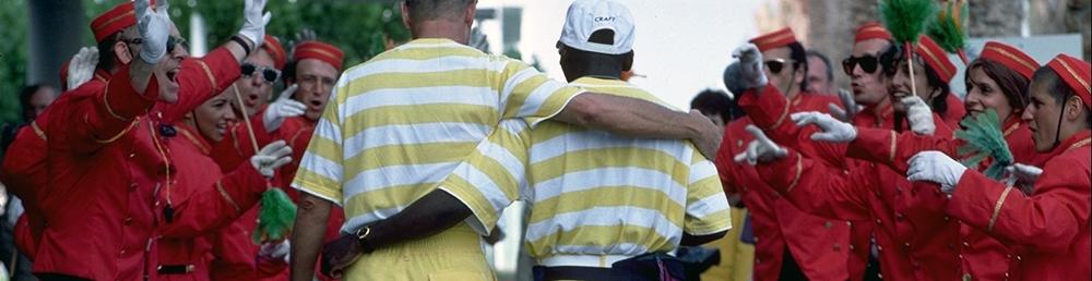 Barcelone 1992-L'arrivÈe des dÈlÈgations au village olympique. Accueil d'une dÈlÈgation. Accueil d'une dÈlÈgation.